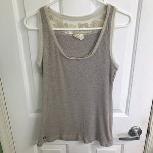 Light gray tank top with flower lace. Size large